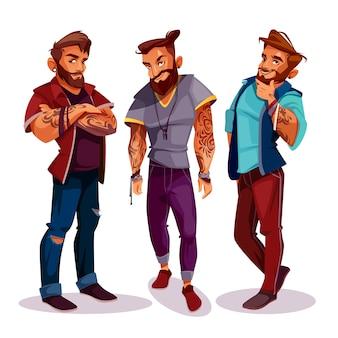 Hipsters árabes de dibujos animados - compañía de jóvenes con tatuajes, ropa de moda.