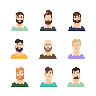 Hípsters de avatares de hombre con varios estilos de cabello y barba.