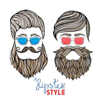 Hipsters cabezas gafas de colores doodle pictogramas