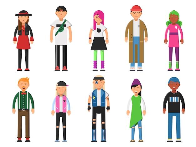 Hipsters de moda. caracteres divertidos alternativos.