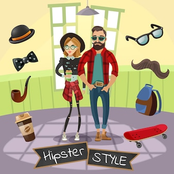 Hipsters subcultura ilustración
