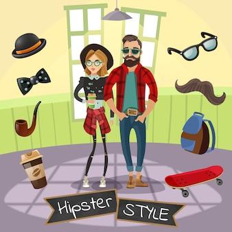 Hipsters subcultura ilustración