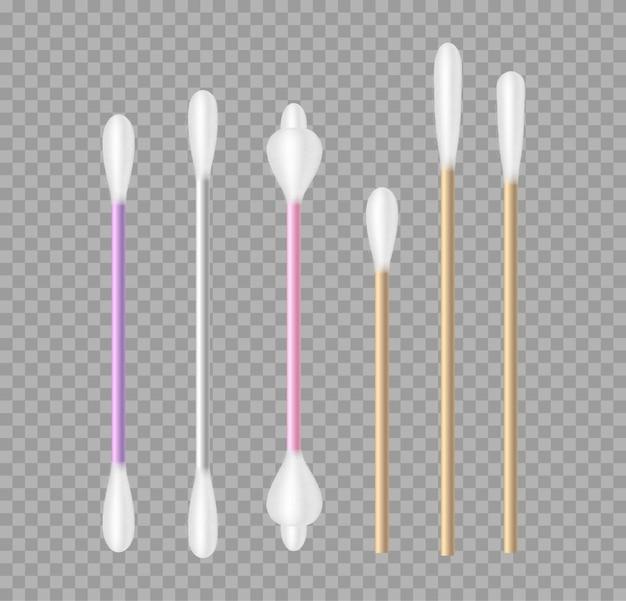 Hisopos de algodón realistas de diferentes formas aisladas sobre fondo transparente. orejeras de lana para medicina, higiene y cosmética. ilustración vectorial 3d