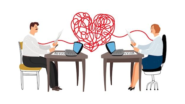 Historia de amor en la ilustración de vector de trabajo. los colegas están enamorados, personajes masculinos femeninos gerentes
