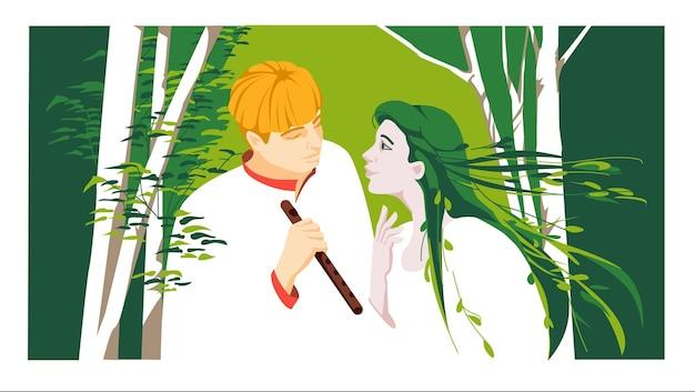 Historia de amor de la literatura clásica ucraniana canción del bosque vector ilustración plana colorida