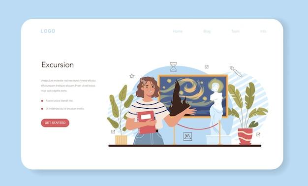Historia del banner web de educación de la escuela de arte o página de inicio. estudiante estudiando