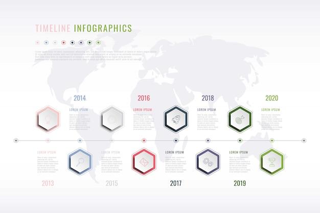 Historia corporativa infografía con elementos hexagonales