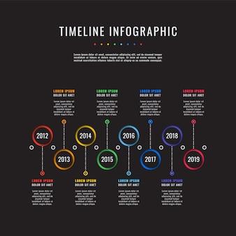 Historia corporativa línea de tiempo infografías de negocios con 8 elementos de corte de papel.