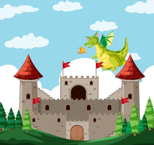 Una historia de dragón de fantasía.