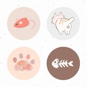 La historia del gato destaca el conjunto de iconos para redes sociales.