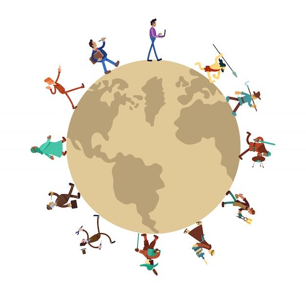 Historia de la humanidad alrededor del banner web 2d mundial, conjunto de carteles