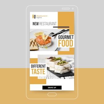 Historia de instagram de comida gourmet