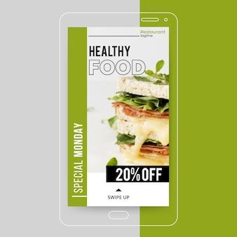 Historia de instagram de comida sana