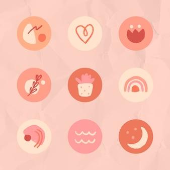 Historia de instagram destaca el conjunto de iconos