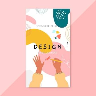 Historia de instagram de diseño colorido dibujado a mano