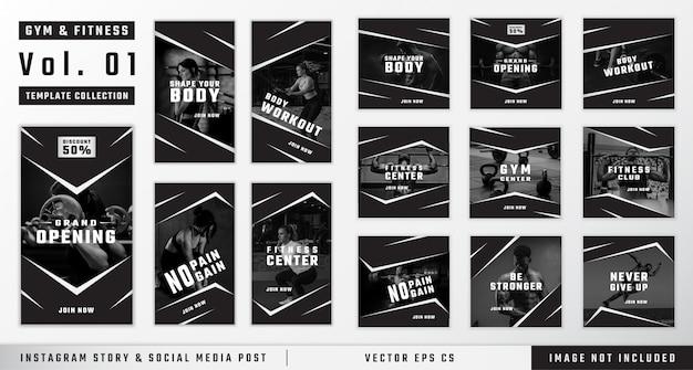 Historia de instagram de gimnasio y fitness y colección de plantillas de publicaciones en redes sociales