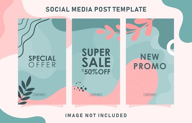 Historia de instagram con plantilla de oferta especial y diseño de hojas
