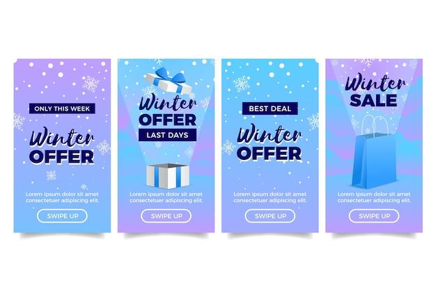 Historia de instagram de rebajas de invierno con cajas de regalo