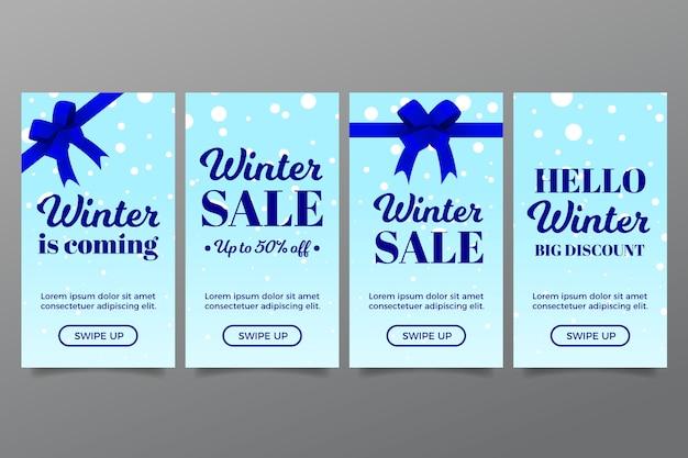 Historia de instagram de rebajas de invierno con cintas