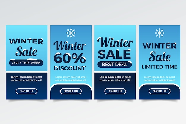 Historia de instagram de rebajas de invierno con copos de nieve