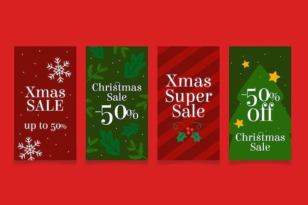 Historia de instagram de super ventas de navidad roja y verde
