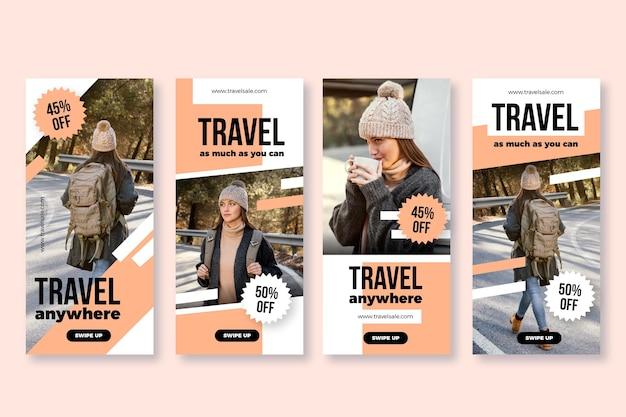 Historia de instagram de viajes de diseño plano se