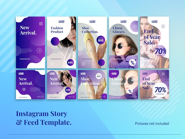 Historia moderna de instagram y plantilla de feed