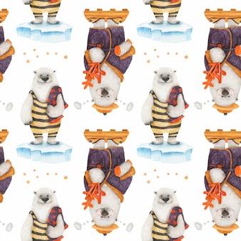 Historia de navidad del oso polar para papel de regalo