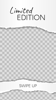 Historia de papel rasgado. edición limitada de recortes de papel, deslice hacia arriba la plantilla de la historia de las redes sociales. marco de red dañado para tienda o blogger. diseño para promoción, ilustración vectorial de marketing
