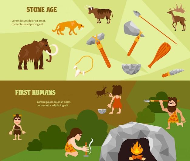 Historia plana banners horizontales con armas antiguas tribu cavernícola cavernícola