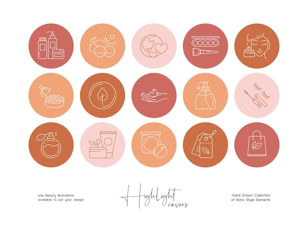 La historia de las redes sociales destaca la belleza y el conjunto de ilustración de línea de estilo boho