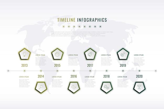 Historia visual corporativa moderna con elementos pentagonales