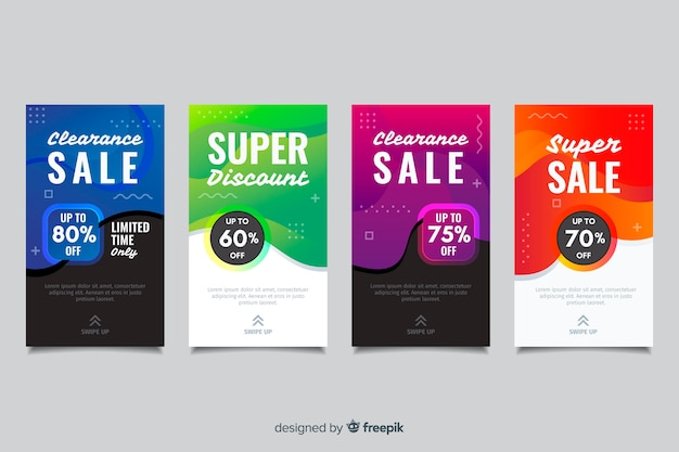 Historias abstractas coloridas de instagram de la venta