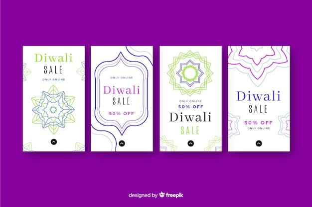 Historias coloridas de diwali instagram
