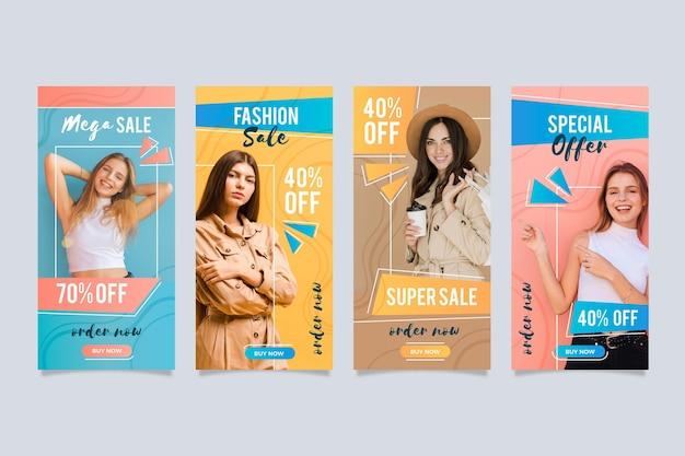Historias coloridas de instagram de venta