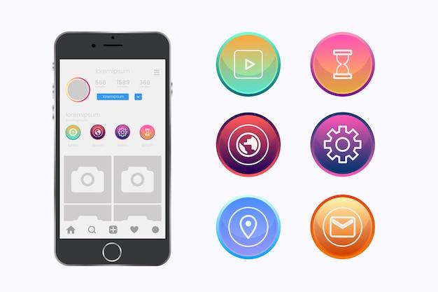 Las historias de gradiente de instagram resaltan el diseño