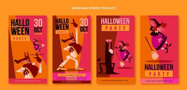 Historias de halloween ig de diseño plano