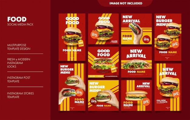 Historias de hamburguesas y plantilla de alimentación