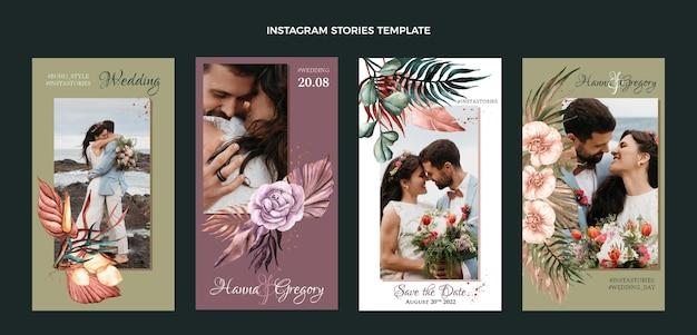 Historias de ig de boda boho acuarela