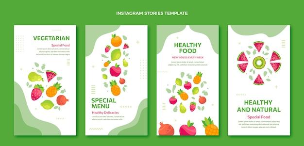 Historias de ig de comida de diseño plano