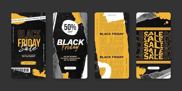 Historias de ig de estilo de papel de viernes negro
