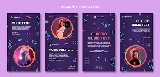 Historias de ig del festival de música colorido degradado