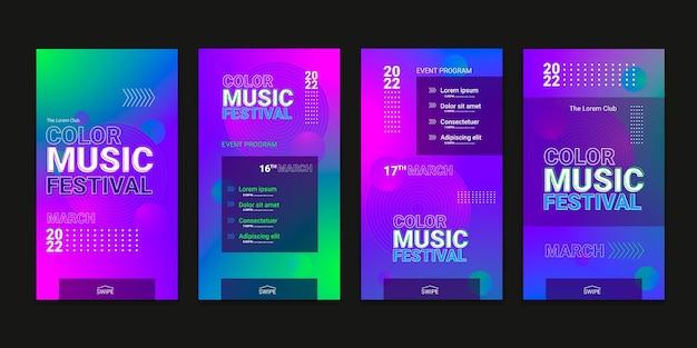 Historias de ig del festival de tecnología de medios tonos degradados