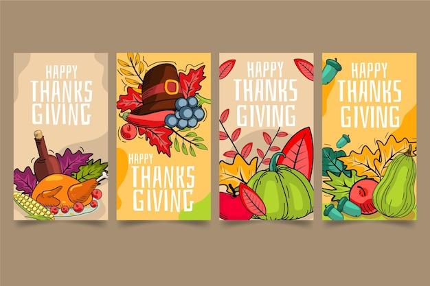 Historias de instagram de acción de gracias dibujadas a mano