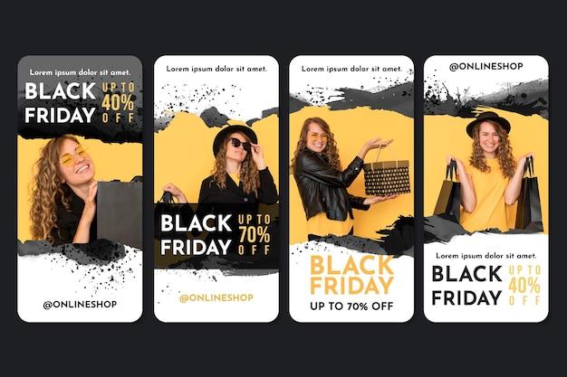 Historias de instagram de black friday en acuarela vector gratuito