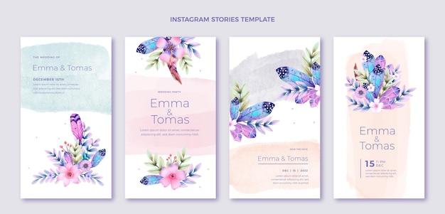 Historias de instagram de boda boho acuarela