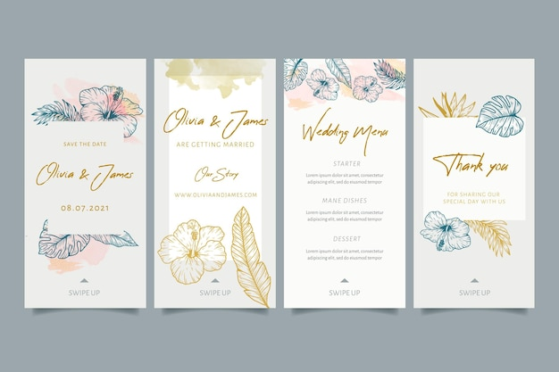 Historias de instagram de bodas con adornos florales