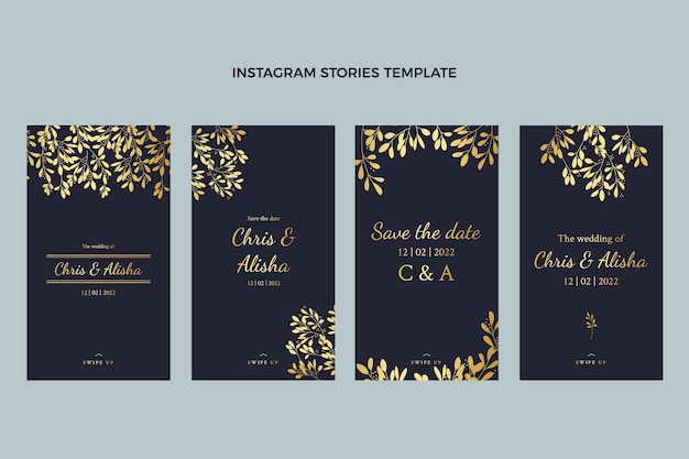 Historias de instagram de bodas de oro de lujo realistas