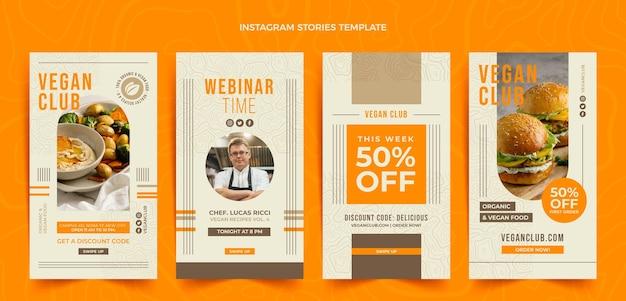 Historias de instagram de comida de diseño plano