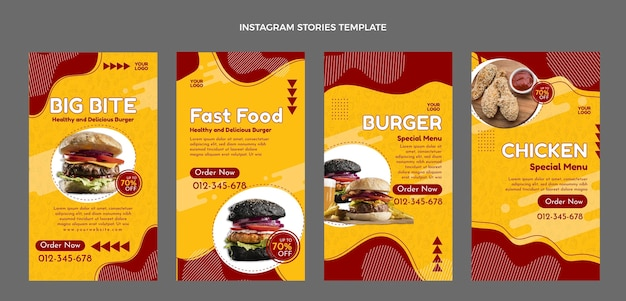 Historias de instagram de comida rápida plana